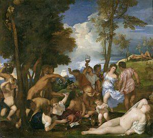 Tiziano, La Bacanal de los Andrios, 1523 - 1526. Óleo sobre lienzo, 175 x 193 cm., Madrid, España.