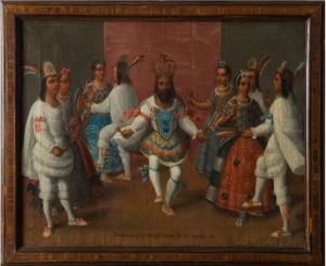 Anónimo, Demostración de la Danza de Indios, 1775-1800, óleo sobre lienzo, 50,0 x 64,0 cm. Madrid: Museo de América (inv.-no .: 2009/05/18)